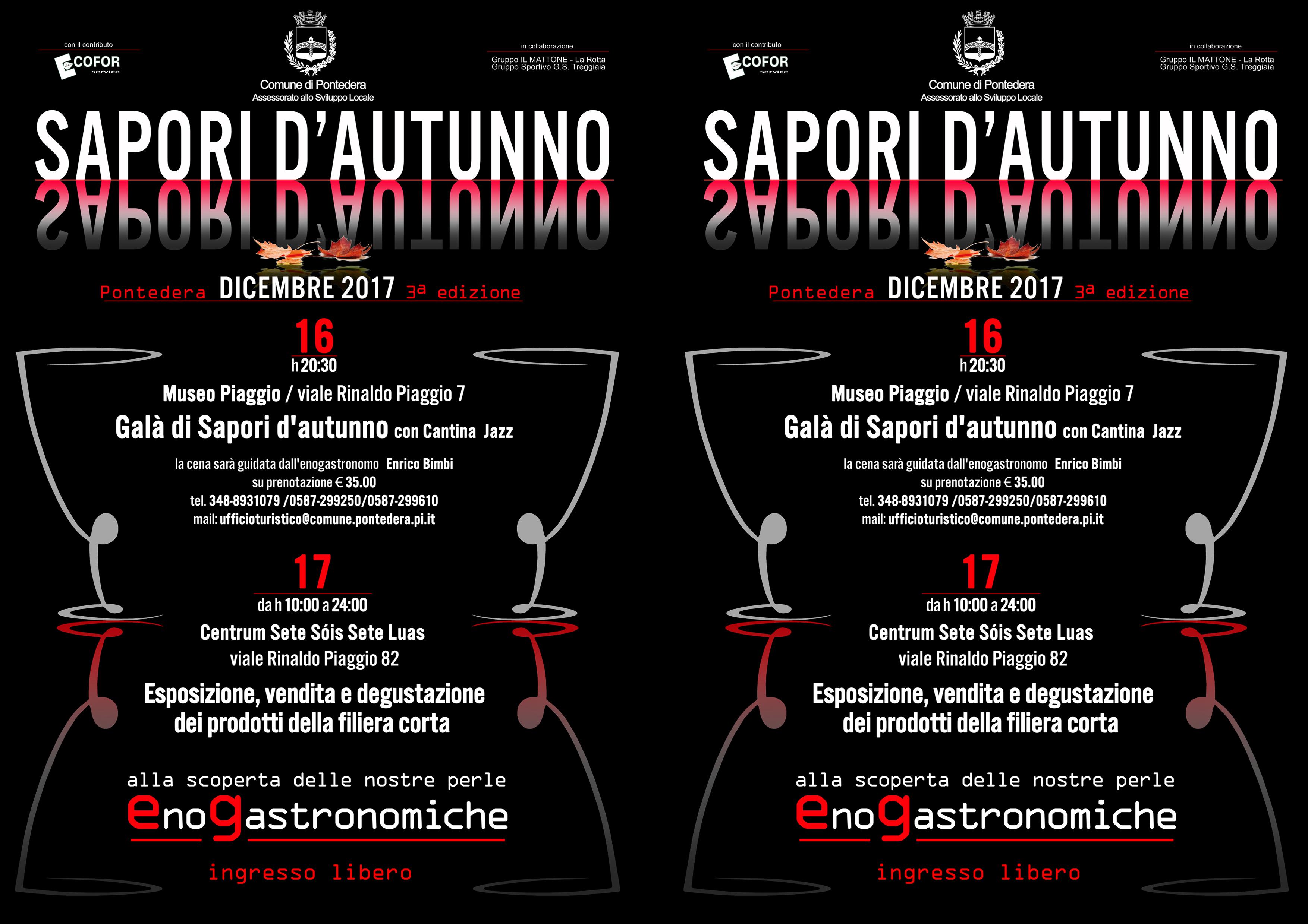 Favolosa cena di gala dei Sapori d'Autunno con Cantina Jazz il 16-12 al Museo Piaggio