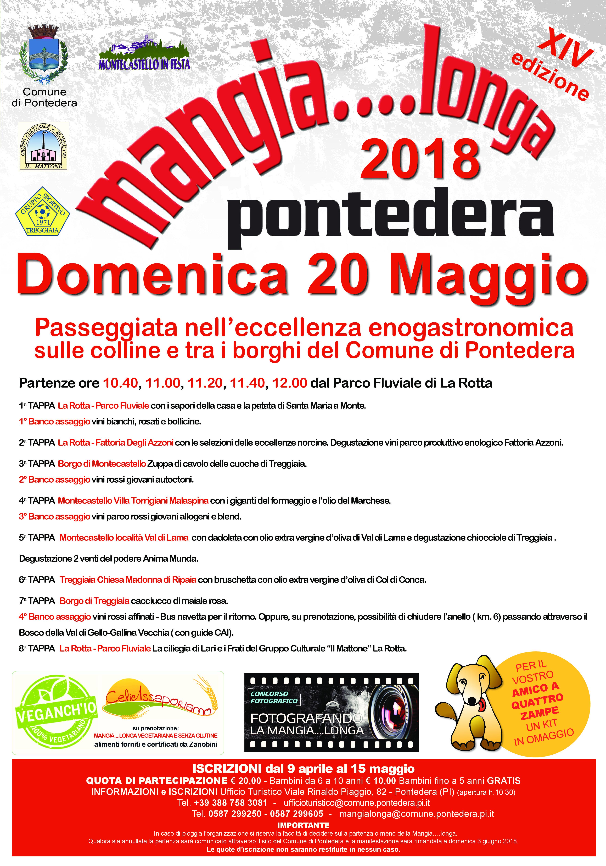 Spettacolare Mangialonga Pontedera 2018 il programma completo del 20 maggio affrettatevi a prenotare