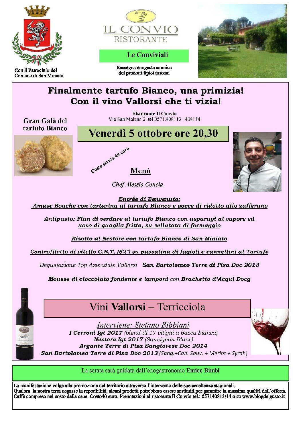 Fantastico Gran Galà del tartufo Bianco al Convio venerdì 5 ottobre con piatti di alta cucina e super vini