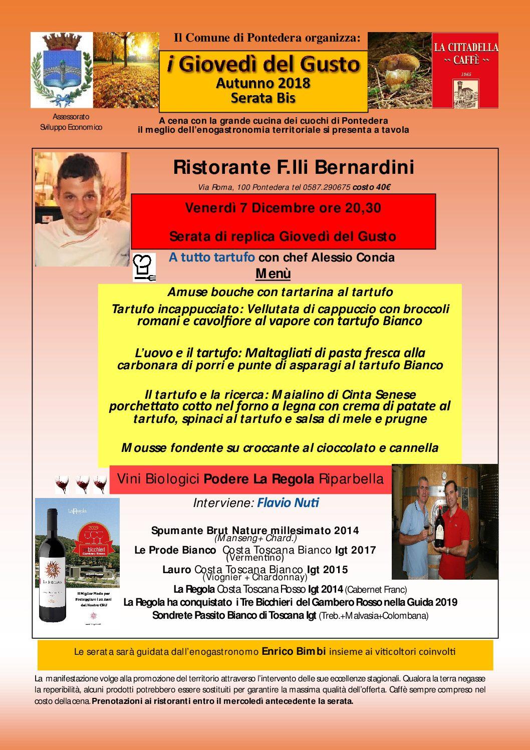 Giovedì del Gusto Tartufo e grandi vini La Regola  dai Fratelli Bernardini si replica il 7 dicembre