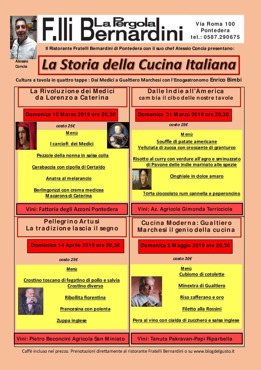 La Storia della Cucina Italiana. al via la fantastica rassegna low cost dai Fratelli Bernardini di Pontedera