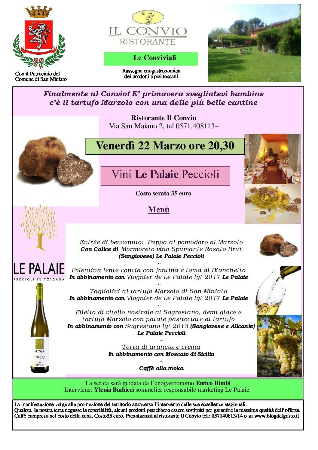 IL tartufo Marzolo per una super serata al Convio con i grandi vini de Le Palaie