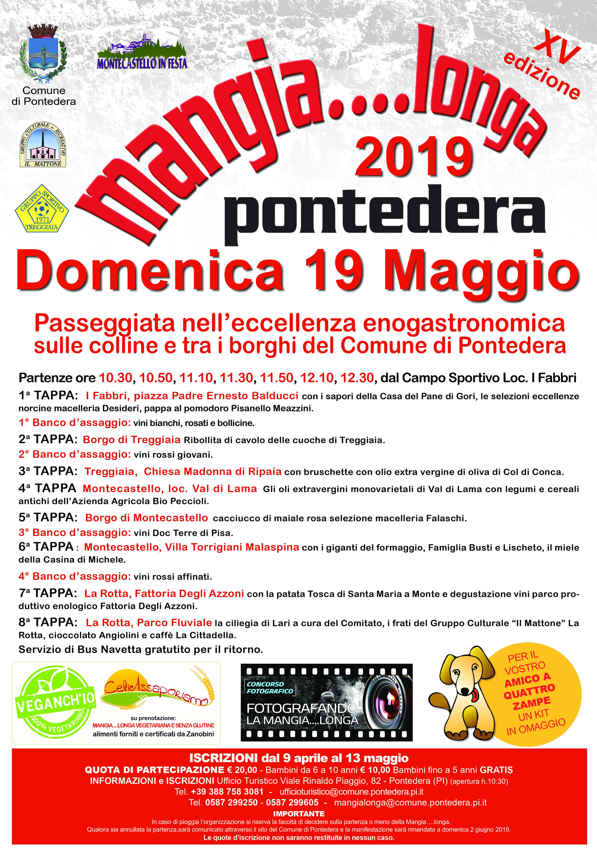 Mangialonga 2019 a Pontedera, la passeggiata più gustosa della Toscana. Tutto il programma. Iscrizioni aperte