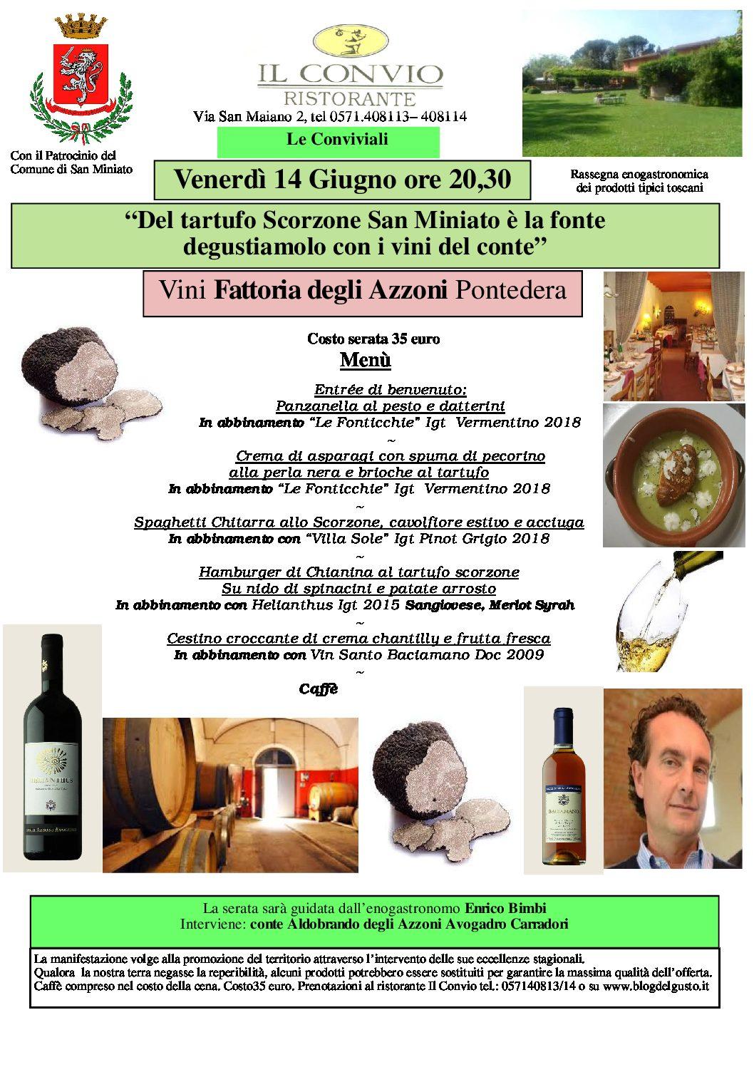 Il tartufo Scorzone dà spettacolo al Convio di San Miniato con i vini degli Azzoni