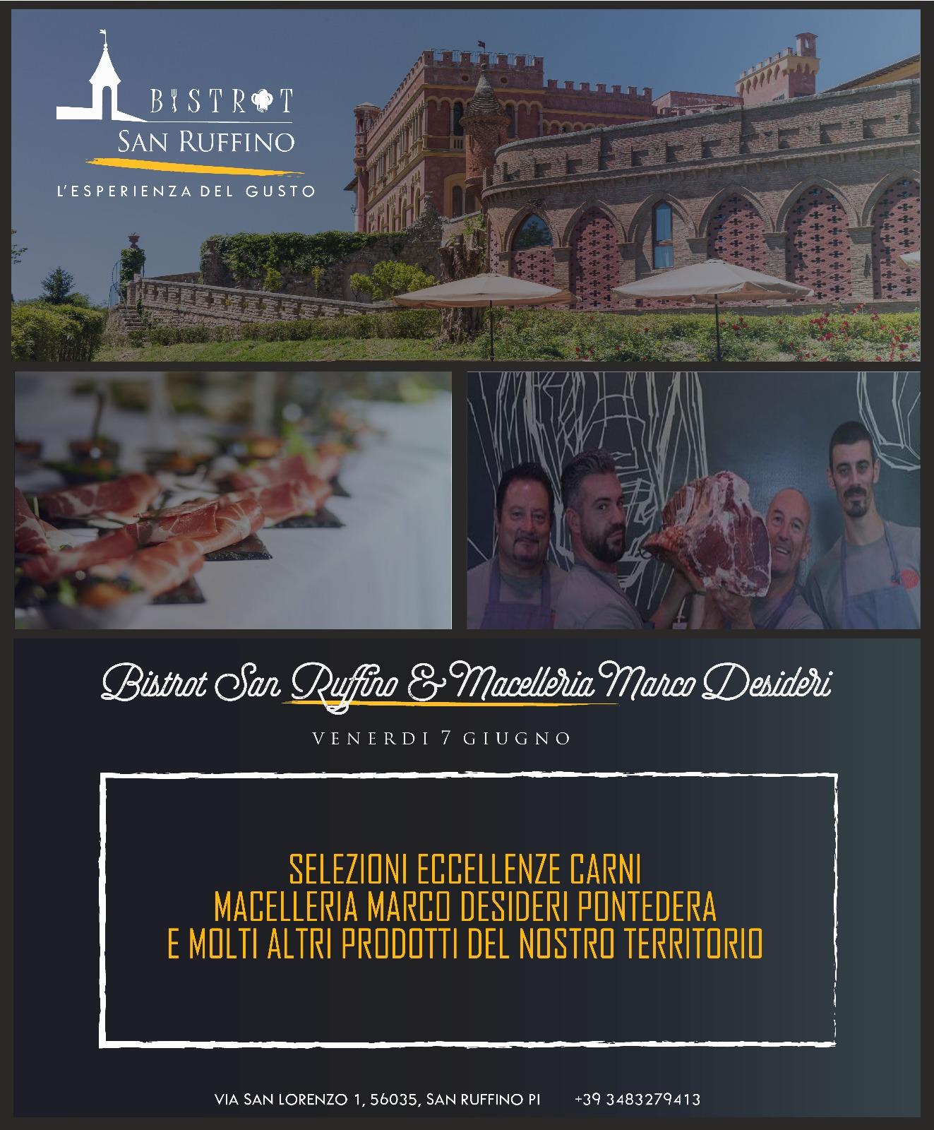 Eccellenze carni macelleria Desideri. Cena evento al Bistrot del lussuoso San Ruffino Resort