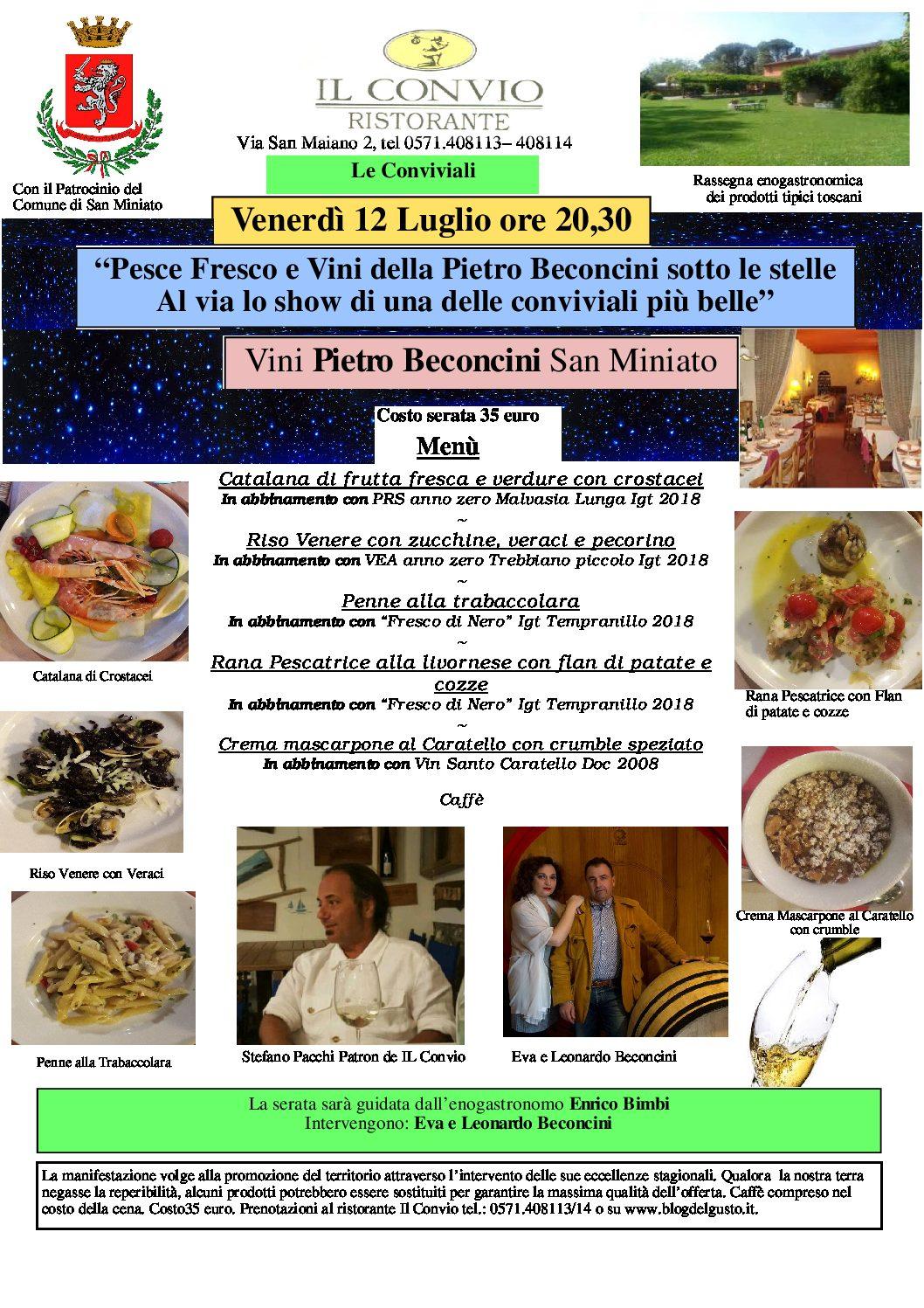 Nel meraviglioso parco del Convio grandi piatti di pesce e vini Pietro Beconcini