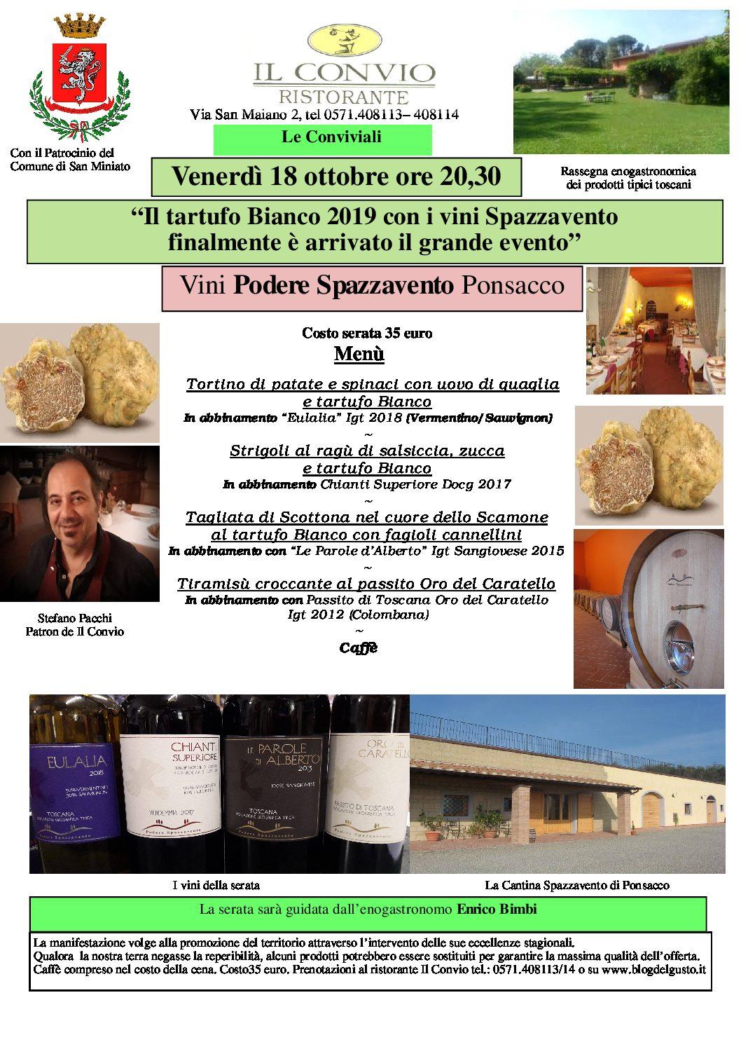 Favoloso Gran Galà del tartufo Bianco al Convio con i vini Spazzavento