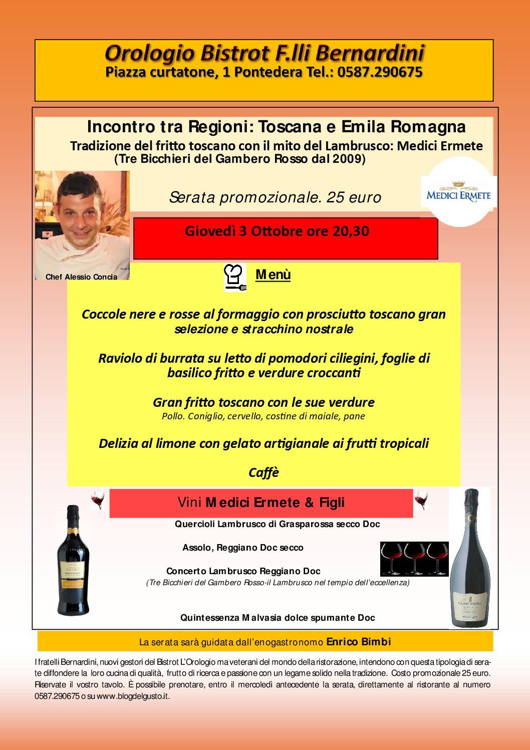 Il Tre Bicchieri Lambrusco Concerto con il gran fritto toscano, Toscana ed Emilia Romagna si incontrano all'Orologio Bistrot