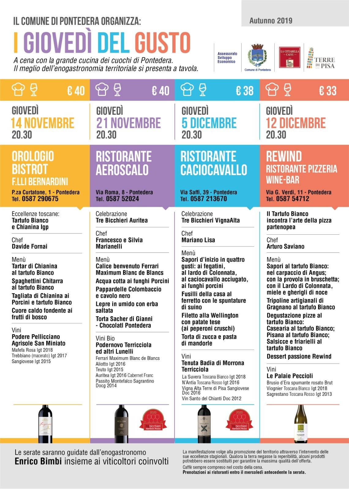 Giovedì del Gusto Autunno 2019 Pontedera programma completo edizione speciale dal 14 novembre al 12 dicembre