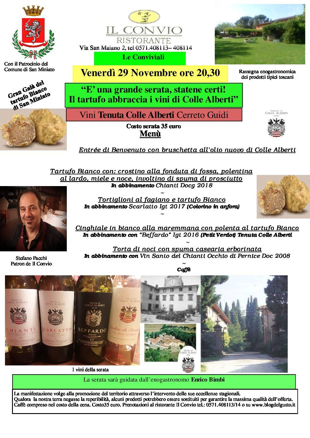 Galà del Tartufo con i vini Colle Alberti al Convio