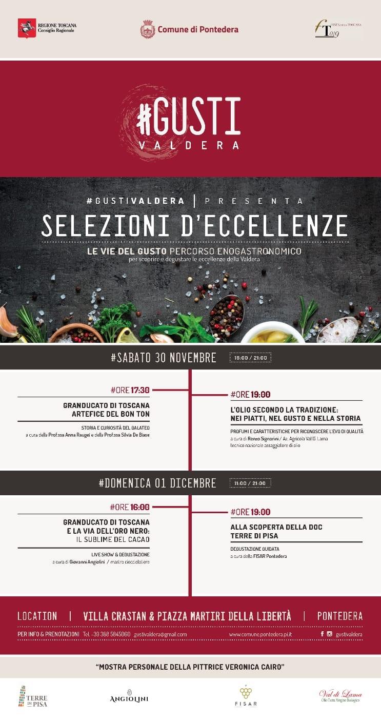 GustiValdera 1a edizione a Pontedera l'evento dell'anno sabato 30 novembre ore16-21 e domenica 1 dicembre ore11-21