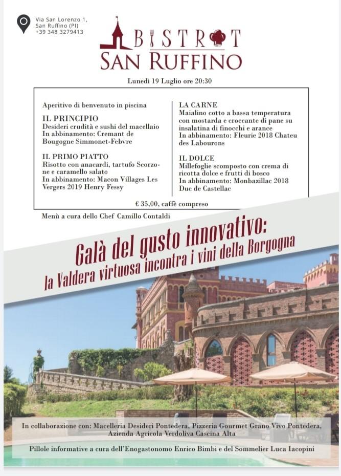 Galà del gusto innovativo con i vini della Borgogna al Bistrot del lussuoso Castello di San Ruffino